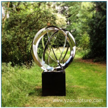Stainless Steel Globe Sculpture With Stone Base